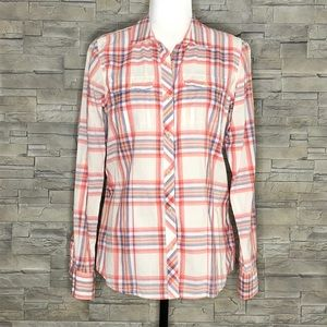 The North Face cream and coral plaid shirt